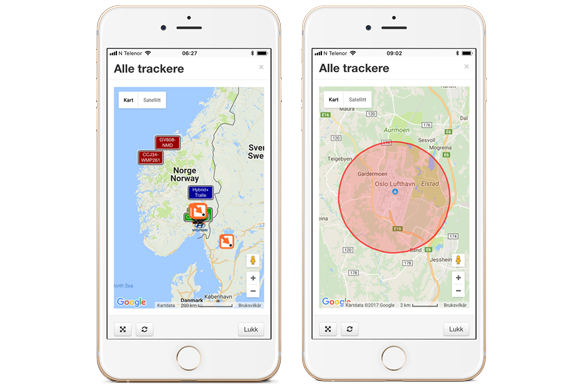 iTracker app, kart og geofence