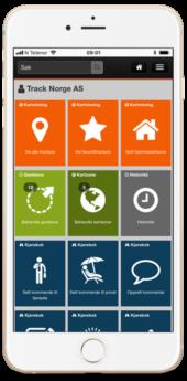ITracker app GPS Tracker, dashbord meny
