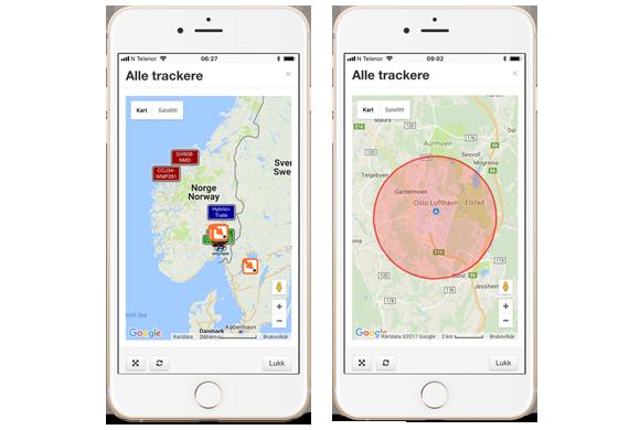 iTracker app, GPS Tracker, kartvisning og geofence